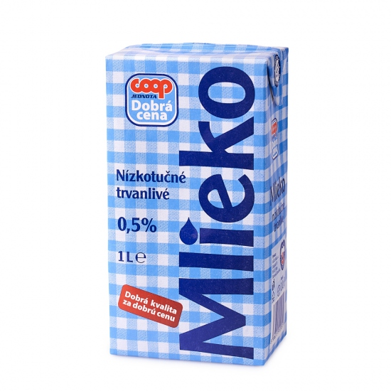 Mlieko nízkotučné 1L