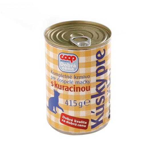 Krmivo Kúsky pre mačky s kur.415g