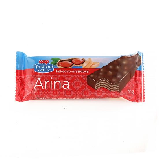 Arina oblátky celomáčané kakaové s arašidmi 55g