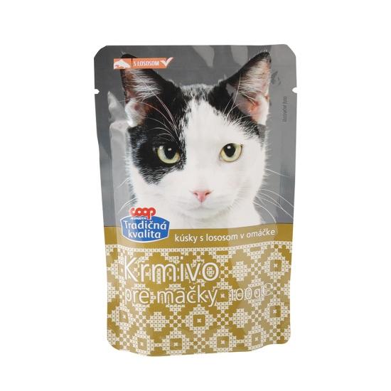 COOP Krmivo kúsky pre mačky s lososom 100g