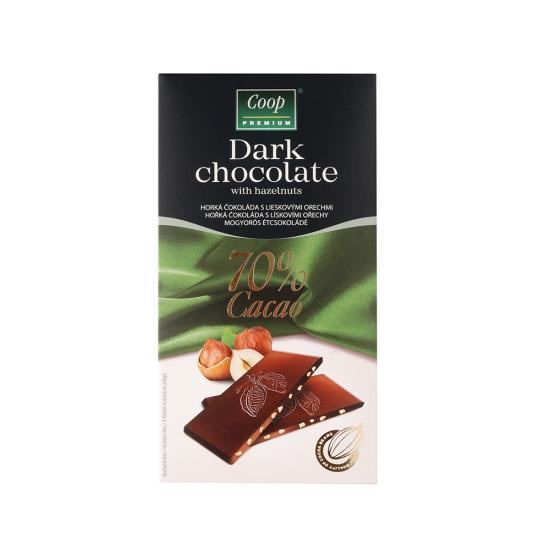 Čokoláda horká 70% s liesk.orech. 80g