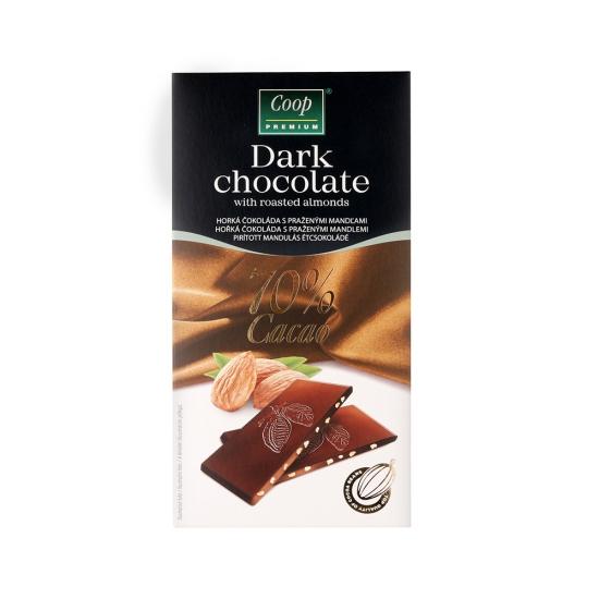 Čokoláda horká 70% s praž.mandl. 80g